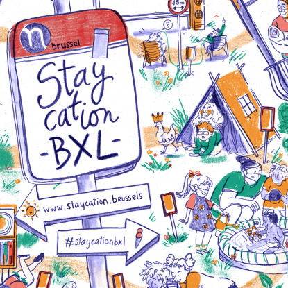 Cartoon met wegwijzers en metropaal: Staycation