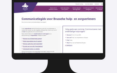 computerscherm met website van Huis van het Nederlands Brussel